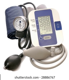 Close-up view to analog and digital blood pressure manometer on white background. Not isolated, studio shot