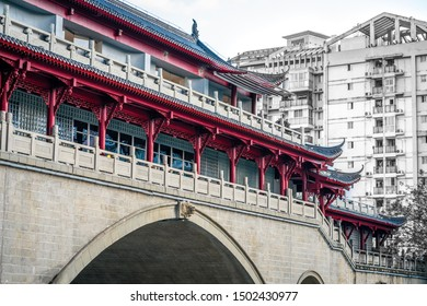 Close-up view of Anshun bridge on daytime in Chengdu Sichuan China