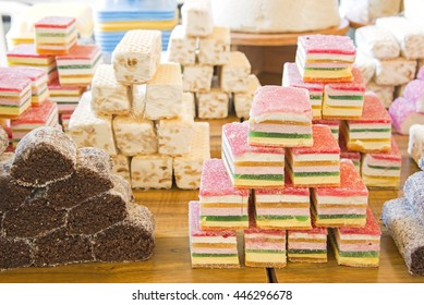 Closeup view of arabic sweets in a market.