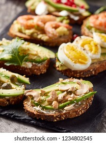 Close-up view of avocado toasts. Plant-based food