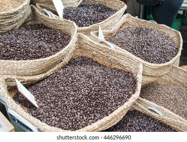 Closeup view of baskets with coffee beans.