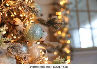 Closeup view of beautiful decorated Christmas tree indoors