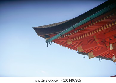 close-up view of beautiful  majestic Kiyomizu-dera, a famous Buddhist Temple in Kyoto, Japan, with eaves of a traditional Japanese building in the background