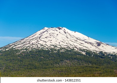 A closeup view of beautiful Mt. Bachelor near Bend, Oregon