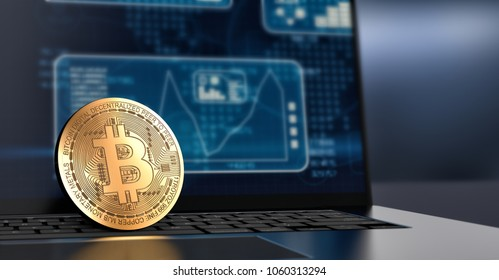 close-up view of a bitcoin coin and a laptop computer with financial charts and graph on screen (3d render)