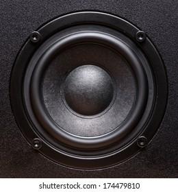 Closeup view of black bass speaker
