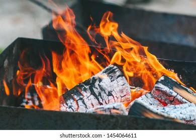 Closeup view of bonfire flames