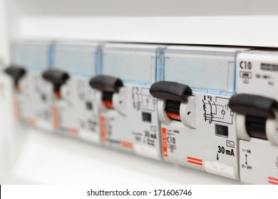 Closeup view of a box with automatic fuses