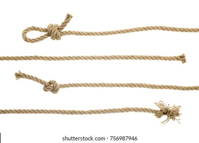 close-up view of brown strong nautical ropes with knots isolated on white