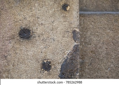 A close-up view of bullet holes and shrapnel damage sustained during the Second World War and the liberation of Prague in May 1945. Many traces of the past can still be seen throughout the city. - Shutterstock ID 785262988