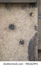 A close-up view of bullet holes and shrapnel damage sustained during the Second World War and the liberation of Prague in May 1945. Many traces of the past can still be seen throughout the city. - Shutterstock ID 785262991