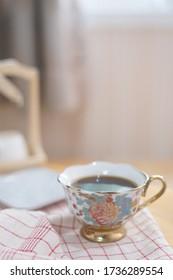 Close-up view of ceramic teacup