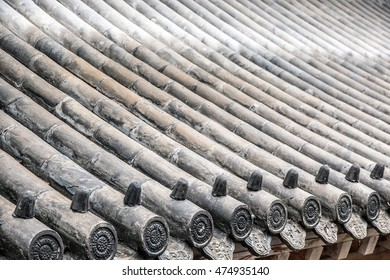 closeup view of Chinese roof in the ancient temple
