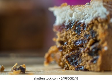 closeup view christmas mini cake slice on wooden board