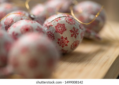 closeup view christmas tree chocolate decoration balls