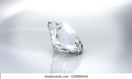 Close-up view of a clear round brilliant cut diamond with caustics rays on white background. 3D rendering illustration - Illustration