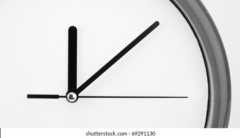 Close-up view of clock face. Time passing