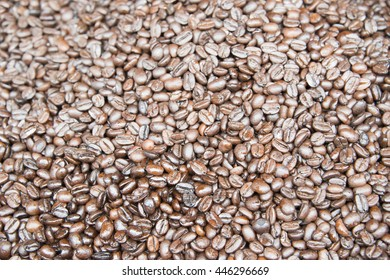 Closeup view of coffee beans background.
