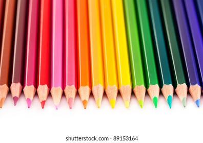 Closeup view of colored pencils