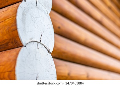 Closeup view of corner of wooden house made of natural logs - wooden construction background