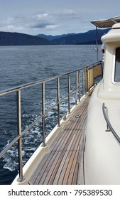 Closeup View of the deck and fittings on a luxury launch in the Marlborough Sounds, New Zealand