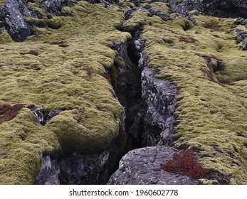 Closeup view of deep fissure on rocky volcanic lava field covered by green moss near Grindavik, Reykjanes peninsula, Iceland on cloudy winter day.
