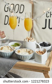 Close-up view of delicious breakfast served in bed on tray