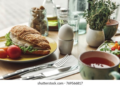 close-up view of delicious healthy breakfast served on table