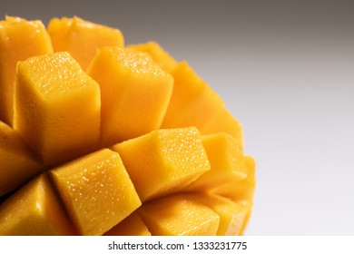 Closeup view of delicious slices of mango fruit with copy space