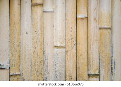 Closeup view of detail from the bamboo fence