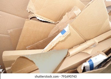 close-up view of discarded cardboard