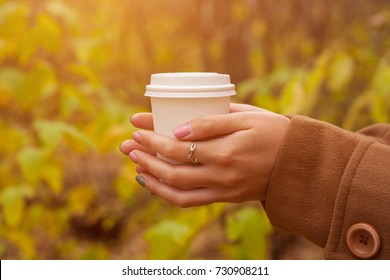 Closeup view of disposable cup of coffee or tea in womans hand. Autumn park with trees and yellow leafes