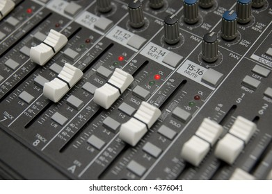 closeup view of a DJ's mixing desk
