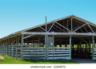 Close-up view of an empty cattle barn