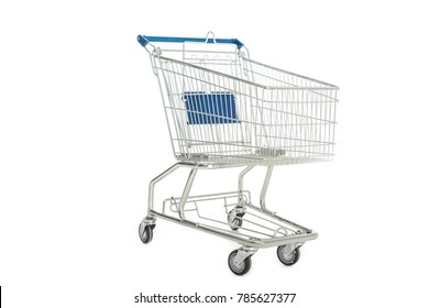 close-up view of empty shopping trolley isolated on white