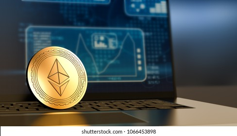 close-up view of a ethereum coin and a laptop computer with financial charts and graph on screen (3d render)