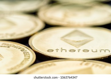 Closeup view Ethereum cryptocurrency coins laid flat