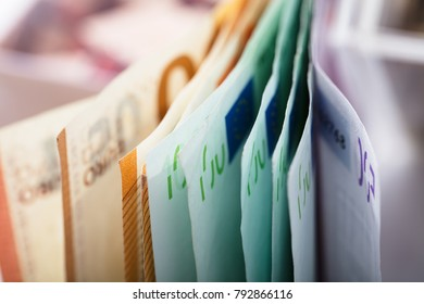 Close-up View Of Euro Banknotes In Row