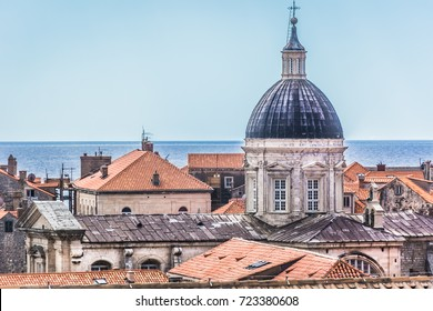Closeup view at famous cathedral in old Dubrovnik town, popular sightseeing travel spot in Croatia, Europe.