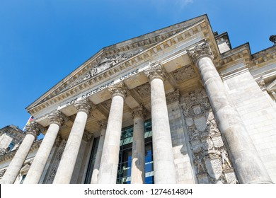 Closeup view of famous Reichstag building, seat of the German Parliament. Berlin Mitte district, Germany.