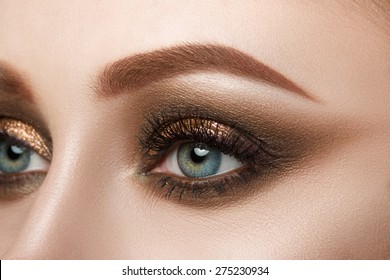 Close-up view of female blue eye with beautiful make-up. Perfect Make-up closeup.