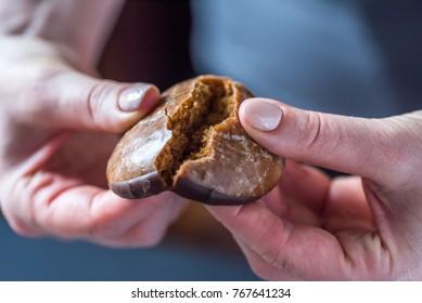Closeup View Female Hands Breaking Christmas Dark Chocolate Lebkuchen