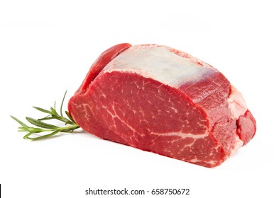 Close-up view of filet mignon isolated on white background.