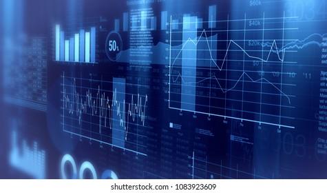 close-up view of financial graphs, bar, circle and line charts (3d render)