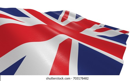 close-up view of the flag of uk on white background (3d render)