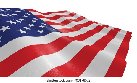 close-up view of the flag of usa on white background (3d render)