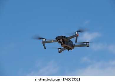 Close-up view of the flying drone.