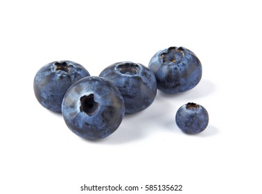 Close-up view of fresh Blueberries isolated on white background.