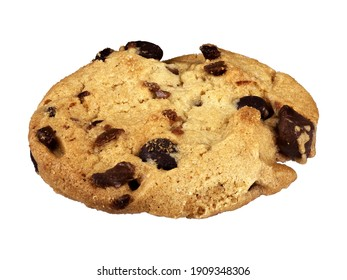 Closeup view of fresh chocolate chip cookie isolated on white background