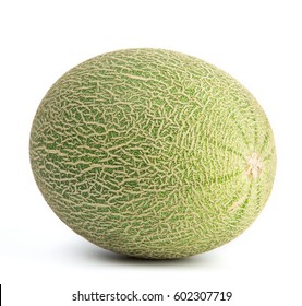 close-up view of fresh Hami melon isolated on white background.